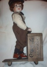 Coca Cola Franklin Mint Danny Porcelain Doll with his Wood Scooter Coke ... - $85.00