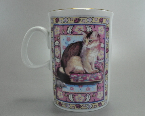 Set of 2 Russ Ceramic Cats Coffee Mugs Cups Gold trim