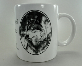 Grey Wolf Drawings Canis Lupis White Coffee Mug Cup - $6.75