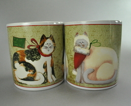 Sakura Fiddlestix Calico Siamese Xmas Cats Coffee Mugs Cups - $10.00