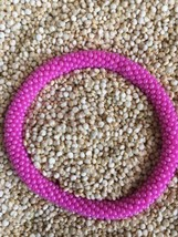 Roll On Glass Beaded Bracelet - Nepal Glass Bead 100% Handmade Bangle Gift Pink - $2.99