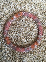 Roll On Glass Beaded Bracelet Nepal Glass Bead 100% Handmade Bangle Pink Silver - $2.99