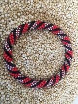 Roll On Glass Beaded Bracelet Nepal Bead 100% Handmade Bangle Red Black Silver - $2.99