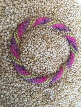 Roll On Glass Beaded Bracelet Nepal Glass Bead 100% Handmade Bangle Pink Green - $2.99