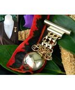 Vintage military medal ribbon style costume dangle bar brooch pin gold thumbtall