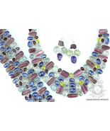 AQUAMARINE WATERMELON TOURMALINE 925 Solid Sterling Silver Necklace Set 142 - $451.24