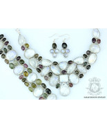 TOURMALINE CEYLON MOONSTONE 925 Solid Sterling Silver Necklace Set 126 - $451.24