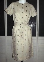 Lovely Vintage 1950s Madman Embroidered Linen Secretary Day Dress - $54.59