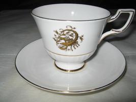 Tuscan Bone China Scorpio White & Gold Cup & Saucer Set - Oct 23-Nov 21 - $8.99