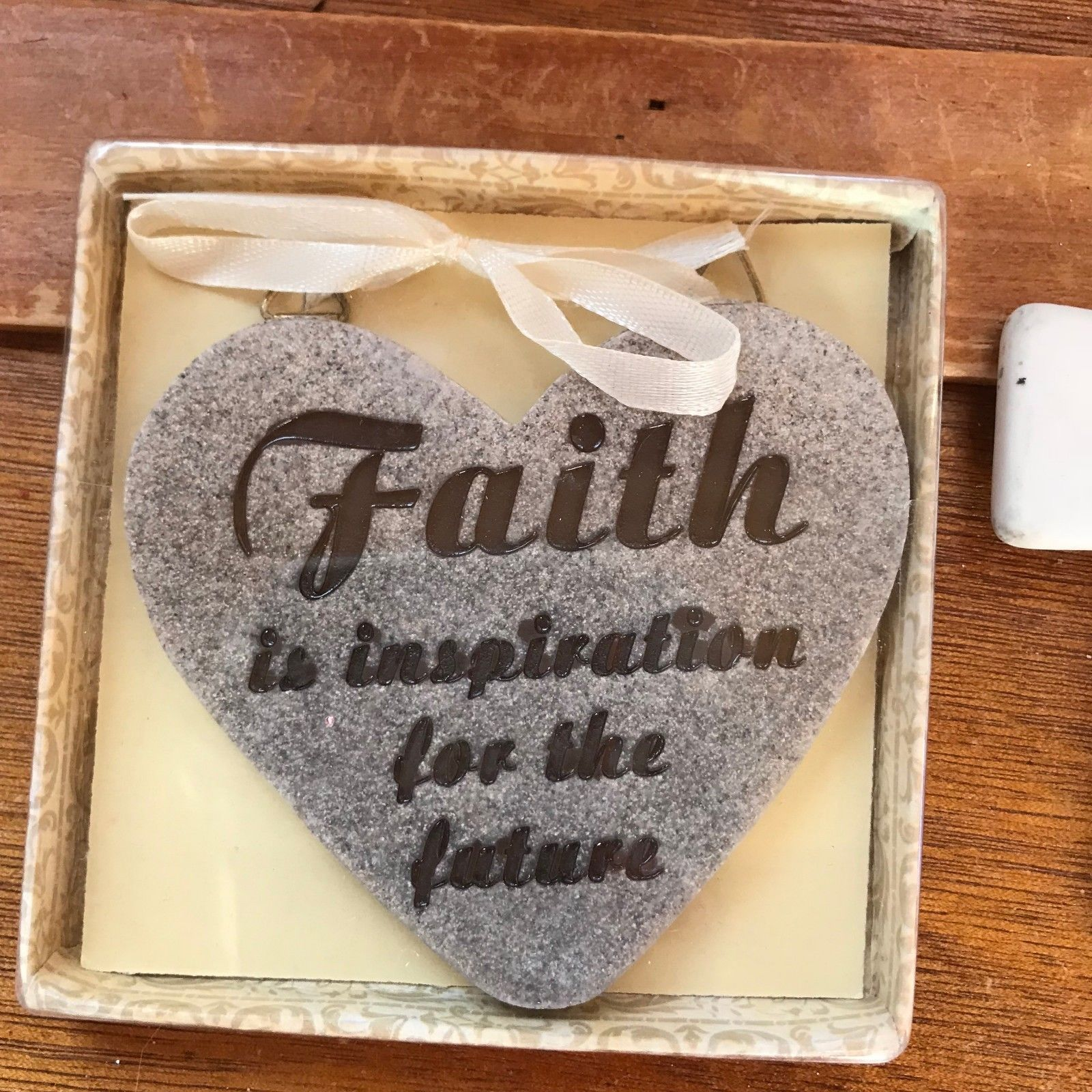 Lot of 2 Stone Tan Heart & White Porcelain Cross with FAITH Religious Christmas