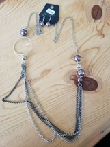 1145 Silver & Gray W/ Light Brown Beads Necklace Set ( New ) - $8.58