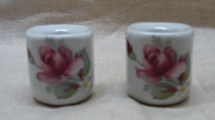 Vintage W. Germany Porcelain Rose Miniature Candle Holders