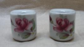 Vintage W. Germany Porcelain Rose Miniature Candle Holders - $5.00