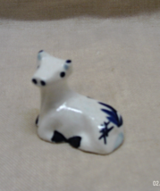 Vintage Miniature DELFT Hand Painted Cow Figurine // Blue & White Cow Fi... - $6.00