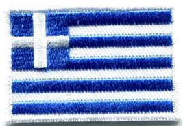 Flag of Greece Greek Hellenic freedom or death applique iron-on patch Med. S-349 - $2.76