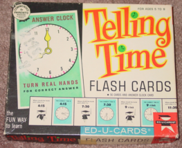 TELLING TIME FLASH CARDS GAME EDUCATIONAL TEACHING TIME 1963 EDUCARDS CO... - $25.00