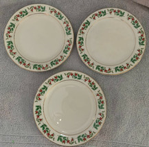 "Gibson China Holly Celebration 7"" Salad Plates (3) Holiday Christmas Tableware - $16.99"