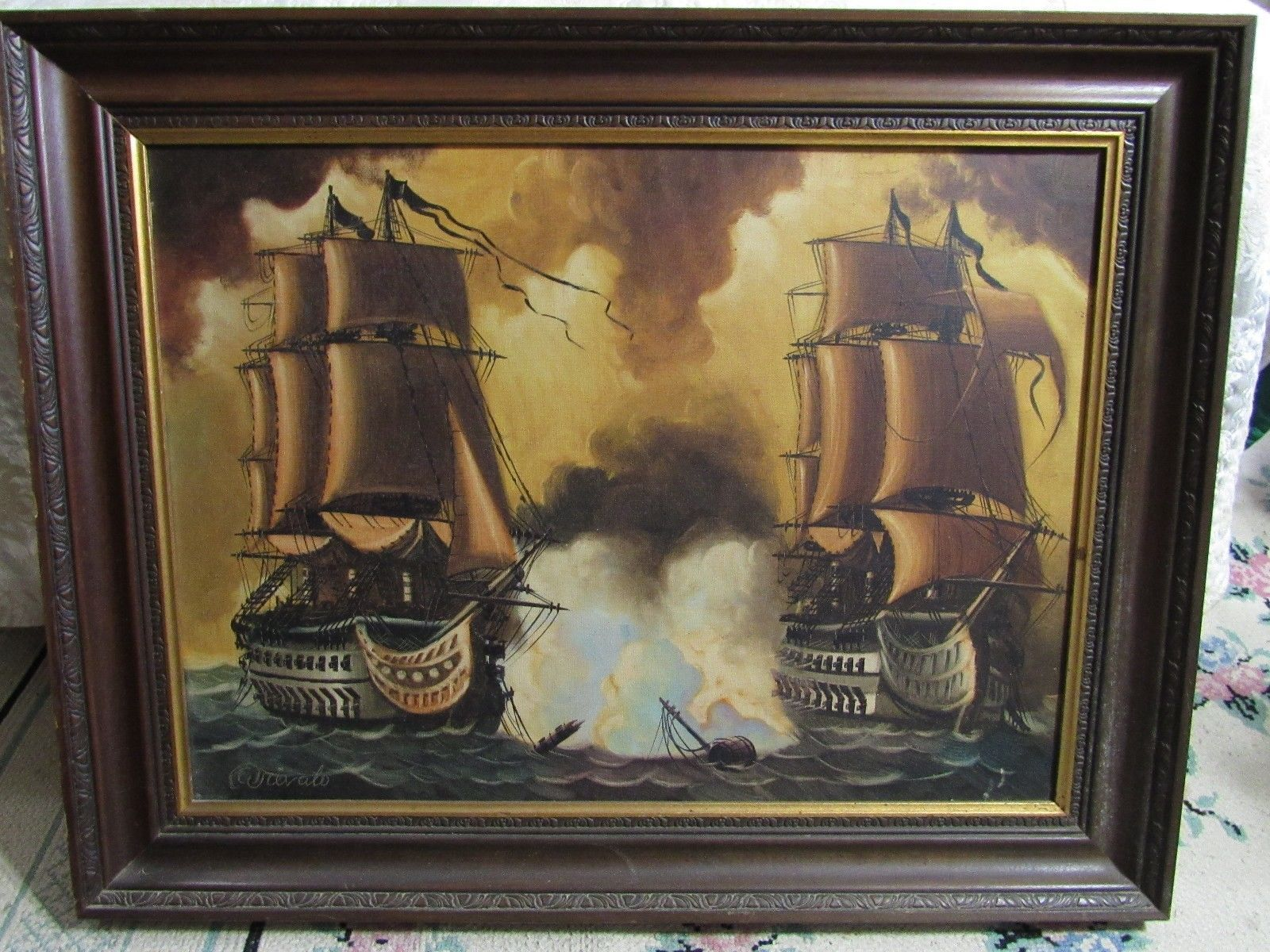 "Arevalo - Original  on Canvas 28"" by 36""  Picture Painting Naval Ship Battle"