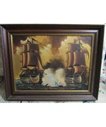 "Arevalo - Original  on Canvas 28"" by 36""  Picture Painting Naval Ship Ba... - $147.76"
