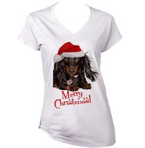 Merry Christmas Dachshund Black Long Hair   New White Cotton Lady Tshirt - $22.26