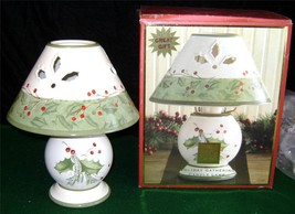 "Lenox~Holiday Gathering~Laurie Le Luyer~Candle Lamp~Die Cut~Holly~Berry~10""H~Mib - $18.69"