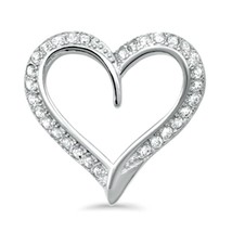Sterling Silver Sleek CZ Heart Love pendant New d18 - $10.59