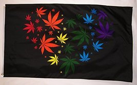 Rainbow Marijuana Love Heart Shaped By Pot Leafs Flag 3' X 5' Banner - $9.95