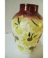 Small Hand Painted Floral Custard Glass Bud Vase - $12.00