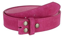 Suede Leather Casual Jean Belt Strap for Men (Pink, 38) - $9.85