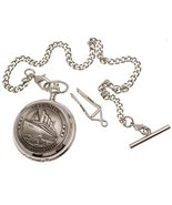 Titanic Pocket Watch Pewter Fronted Mother Of Pearl Quartz Mechanism Des... - $88.19