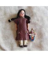 Indian Girl Doll Long Black Braids & Baby Papoose - $26.24