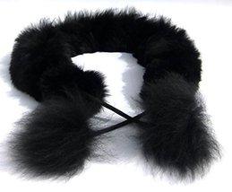 Alpakaandmore Women Alpaca Fur Scarf Black Neck Warmer Pom Pom 31.5 In (... - ₨4,514.80 INR