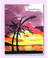 Handmade Watercolor Card Thankful Grateful Appreciation Palm Trees - $4.25