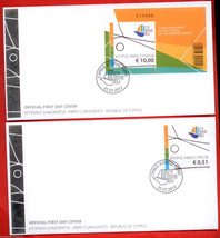 CYPRUS 2012  2 OFFICIAL FDC FIRST DAY COVER WITH MINIATURE & STAMP ,MINT - $32.00
