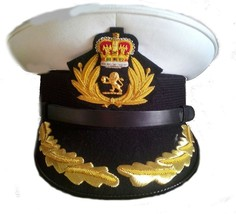 Cunard Queen Mary 2 Ship Captain Hat White Cloth New  Size 57 To  60, Hi Quality - $108.00