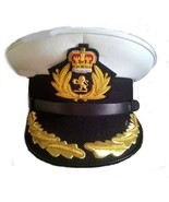CUNARD QUEEN MARY 2 SHIP CAPTAIN HAT WHITE CLOTH NEW  SIZE 57 TO  60, HI... - $108.00