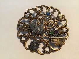 Antiqued Gold Tone Filigree Applied Bird Butterfly Lady Bug Flower Brooc... - $14.80