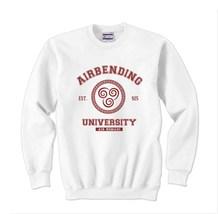 Airbending University MAROON ink on front Unisex Crewneck Sweatshirt WHITE - $30.00+