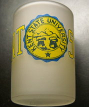 Hazel Atlas Kent State Shot Glass Double Frosted Glass Yellow Blue Illustration - $10.99