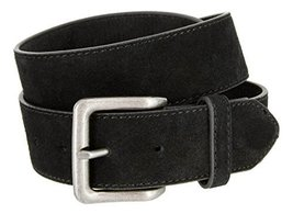 Square Buckle Casual Jean Suede Leather Belt for Women (Black, 36) - $22.27