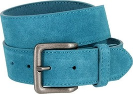 Square Buckle Casual Jean Suede Leather Belt for Women (Blue, 36) - $19.79