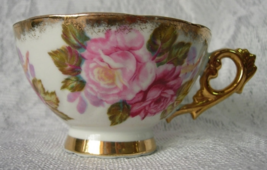 Vintage Footed Lusterware Cup - Pink Roses Gold Trim - Beautiful Cup - $5.40