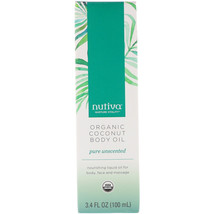 Nutiva, Organic Coconut Body Oil, Pure Unscented, 3.4 fl oz (100 ml) - $14.00