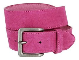 Square Buckle Casual Jean Suede Leather Belt for Men (Pink, 38) - $19.79