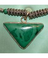 Handmade Sterling Silver Malachite Necklace with Pendant - $49.00