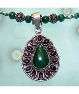 .925 Silver Malachite and Amethyst Necklace with Pendant - $85.00