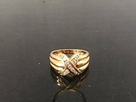 Vintage 10K Solid YG .39Ct Diamond HUG Ring Size 7.25 - $255.00