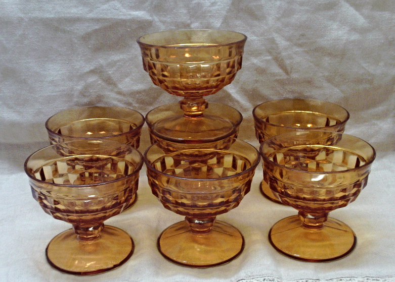 Vintage INDIANA GLASS CO. Amber Whitehall Stemmed Sherbet Dishes // Seven Dishes