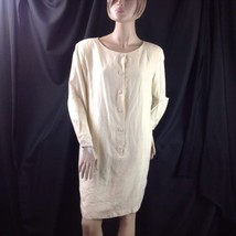 Anne Klein II 100% Ivory Silk Dress Button Front Tunic Shoulder Pads LS ... - $29.21