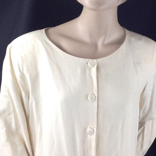 Anne Klein II 100% Ivory Silk Dress Button Front Tunic Shoulder Pads LS 10 12